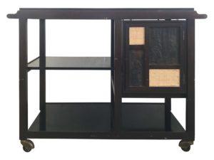 Edward Wormley Dunbar Walnut, Micarta & Cane Flip Top Bar Cart