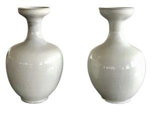 Ivory Ceramic Vases, Pair
