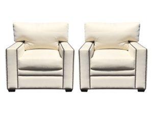 Custom Cream Club Chairs with Brass Nailheads, Pair