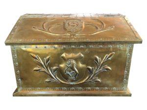 Antique English Brass Fire Wood Log Box