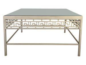 Metro Retro Furniture Square Metal + Glass Greek Key Coffee Table