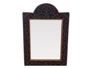 Vintage Velvet  Mirror Arched Mirror with Studwork Detail