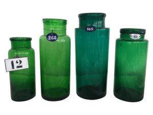 A set of 4 Vintage Bottle Green Numbered Jars