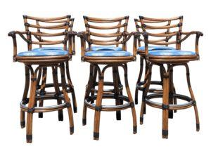 Tiki Rattan Bar Stools, Set of 6