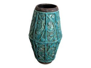 Turquoise Swirled Embossed Glazed Ceramic Vase