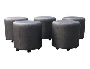 Brown Metallic  Upholstered Short Stools, Set of 5