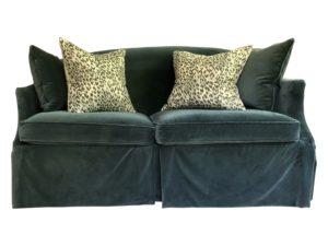 Lee Industries Apartment Sofa Upholstered in Teal Velvet