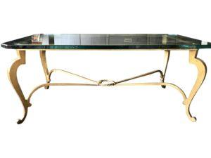 Hollywood Regency Gilt Metal & Glass Rectangular Cocktail Table