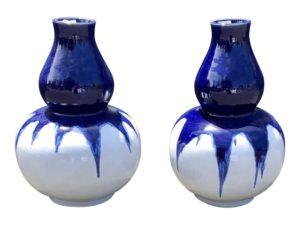 Blue and White Ceramic Gourd Vases, Pair