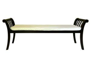 Transitional Scroll Arm Bench in a Dark fFnish