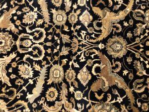 9 x 12 Black & Gold Silk Wool Rug