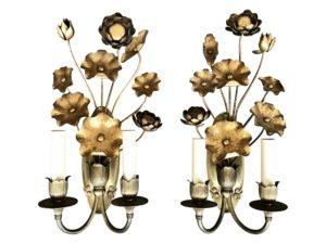 John Rosselli Modernist Gilt Metal Flower Sconces