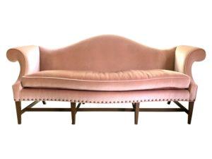 Pink Mohair Hepplewhite Sofa with Brass Nailhead Trim