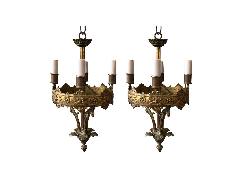 Antique French Bronze 4 Light Round Pendant Light Pair The Local Vault