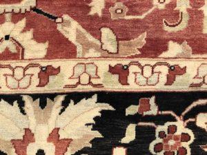 9 x 12 Pakastani Black and Red Wool Rug