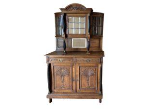 Antique Belgium Carved Oak Cupboard with Mirrored Glass Doors