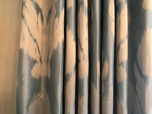 Custom Schumacher Silk Curtains, Pair