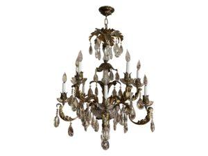 Vintage French Crystal and Brass Leaf 10-light Chandelier