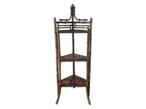 Antique Bamboo Corner Standing Shelf
