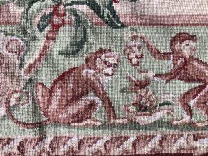 4 x 6 Needlepoint Wool Rug with Monkey Motif