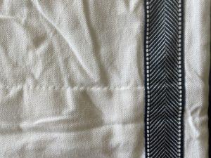 Custom Pinch Pleated Panels with Navy Herringbone Trim, Pair